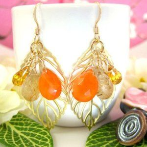 Gold filled leaf yellow and orange Fall earrings